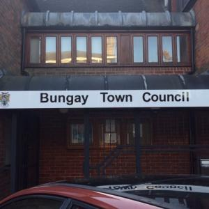 The new sign for Council is installed in Broad Street